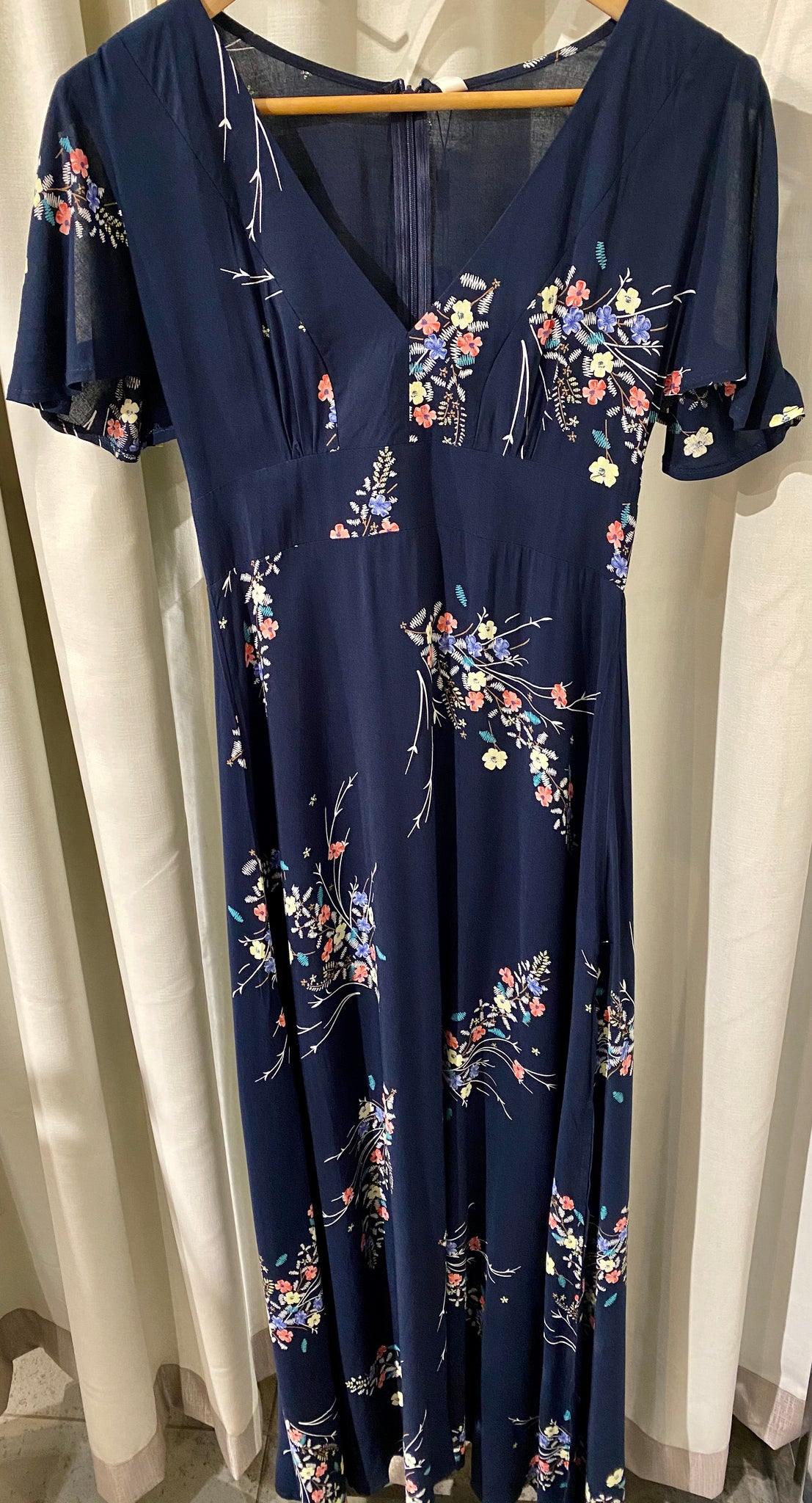 Short Split Sleeve Floral Maxi Dress