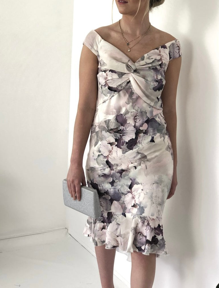 Soft Floral Sleeveless Dress With Frill Hem
