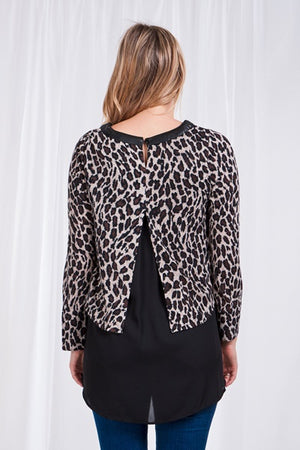Leather Trim Leopard Print Layered Top