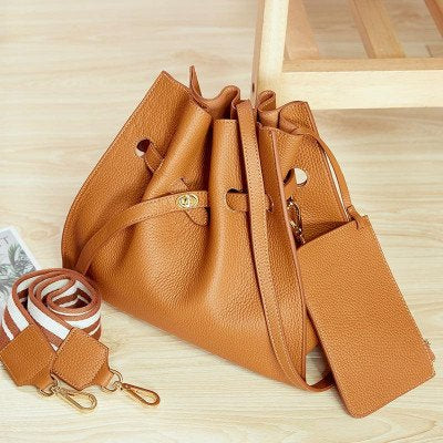 Large Draw String Tote With Contrast Strap