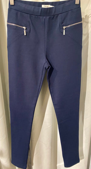 Stretch Ponti Pant With Zip Detail