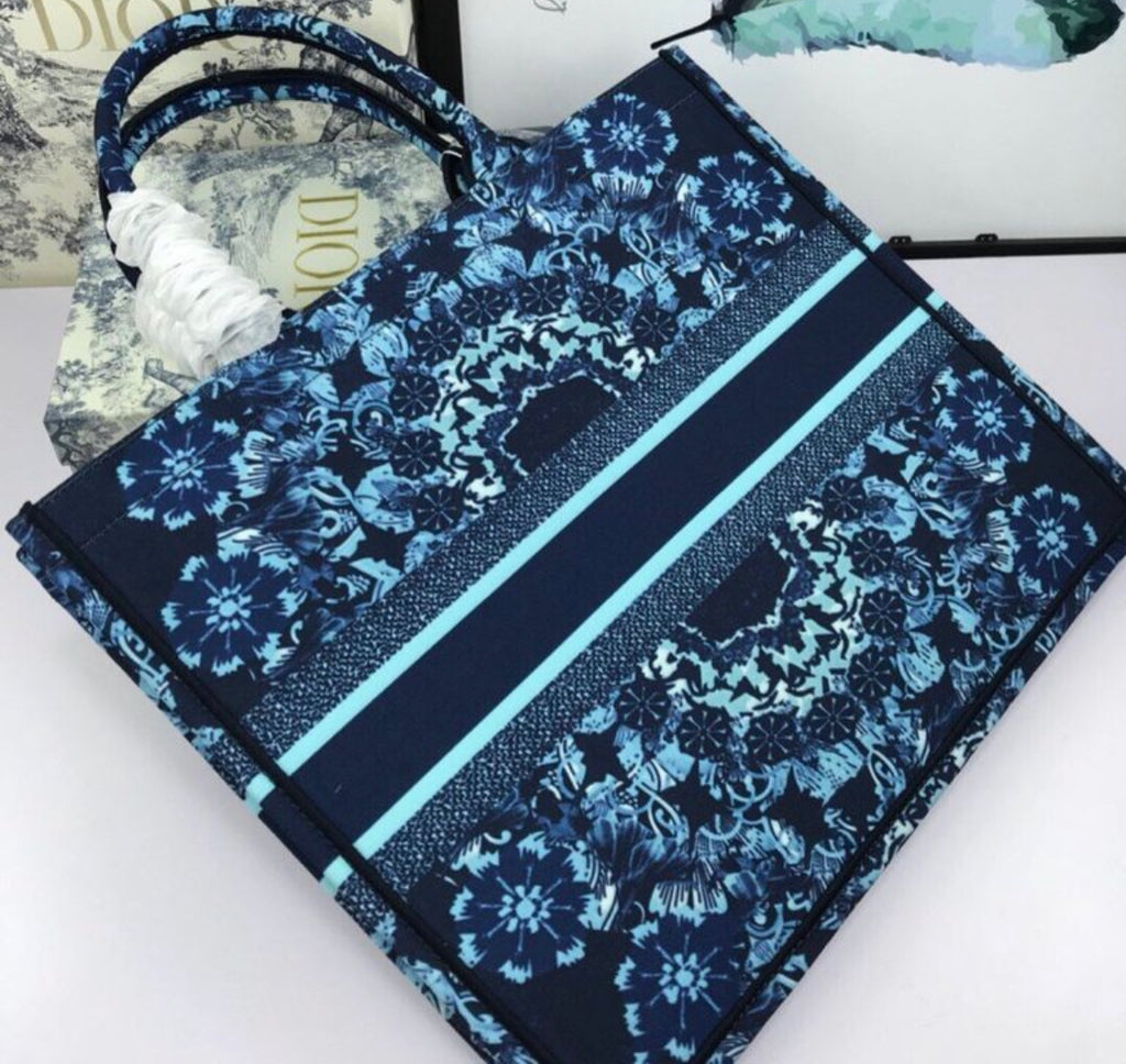 Floral Printed Large Book Tote Bag
