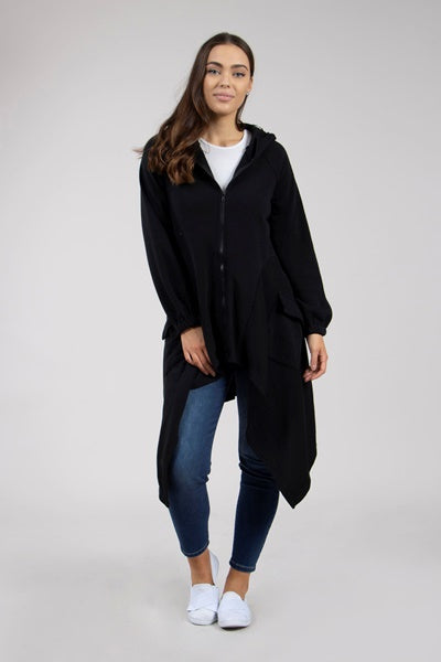 Front Zip Longline Duster Coat