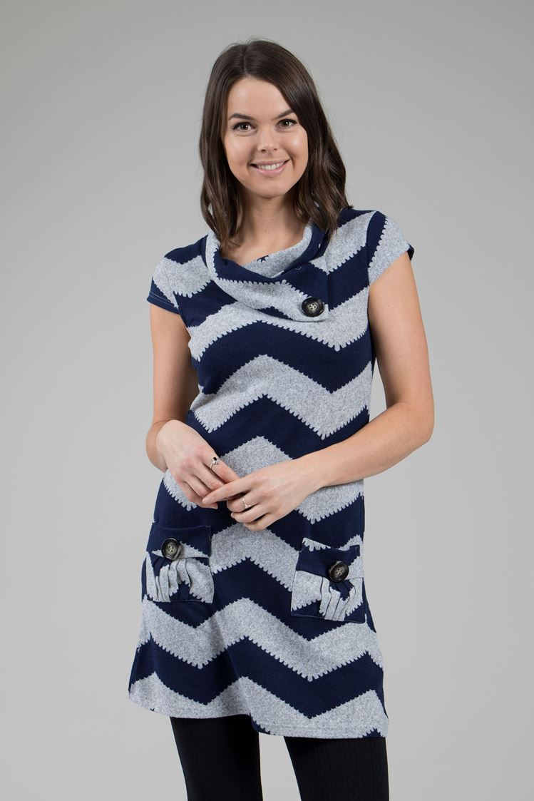 Zig Zag Print Short Dress