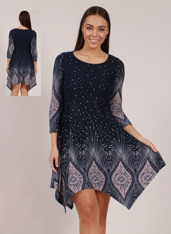 Asymmatrical Hem Printed Dress