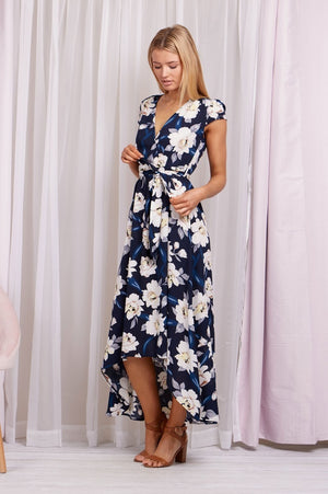 Floral Cap Sleeve Full Length Dress