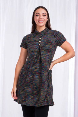 Short Sleeves Cowl Neck Dress With Pockets
