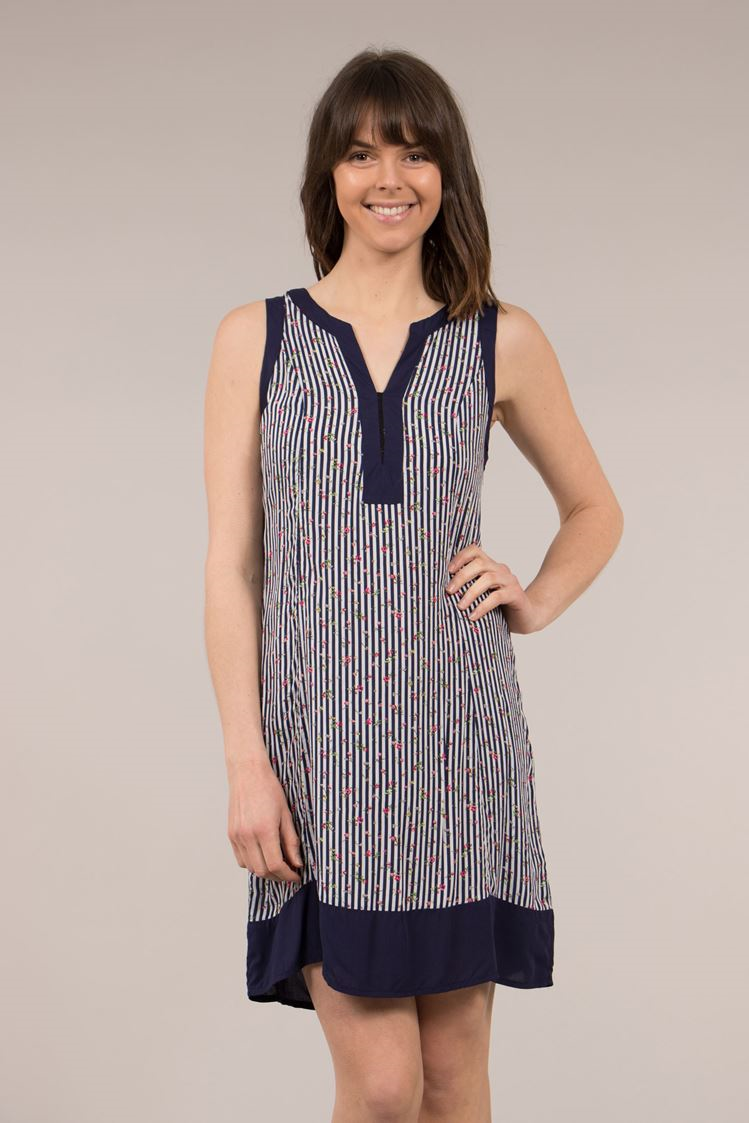 Stripe Print Collarless Shift Dress