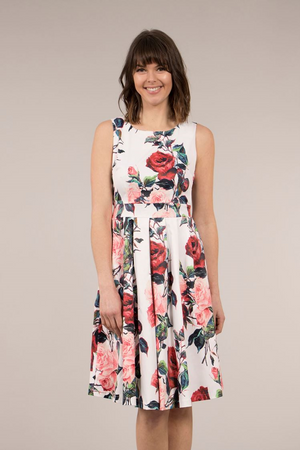 Fit & Flare Rose Print Dress With Tie