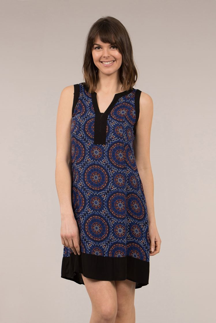 Circular Print Collarless Shift Dress