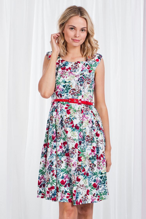 Floral Cap Sleeve Cotton Dress With Belt