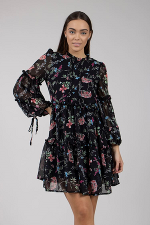 Long Sleeve Floral Print Frill Dress