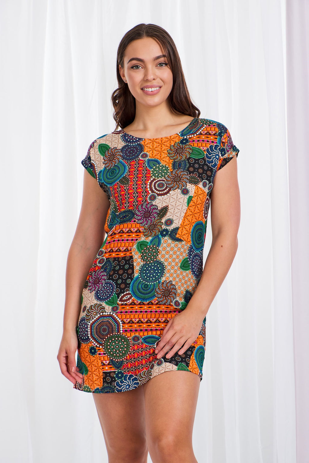 Circular Print Shift Dress