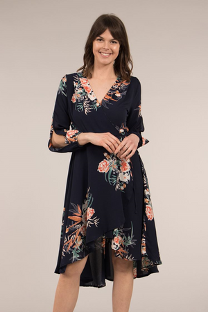 Split Sleeve Floral Print Wrap Dress