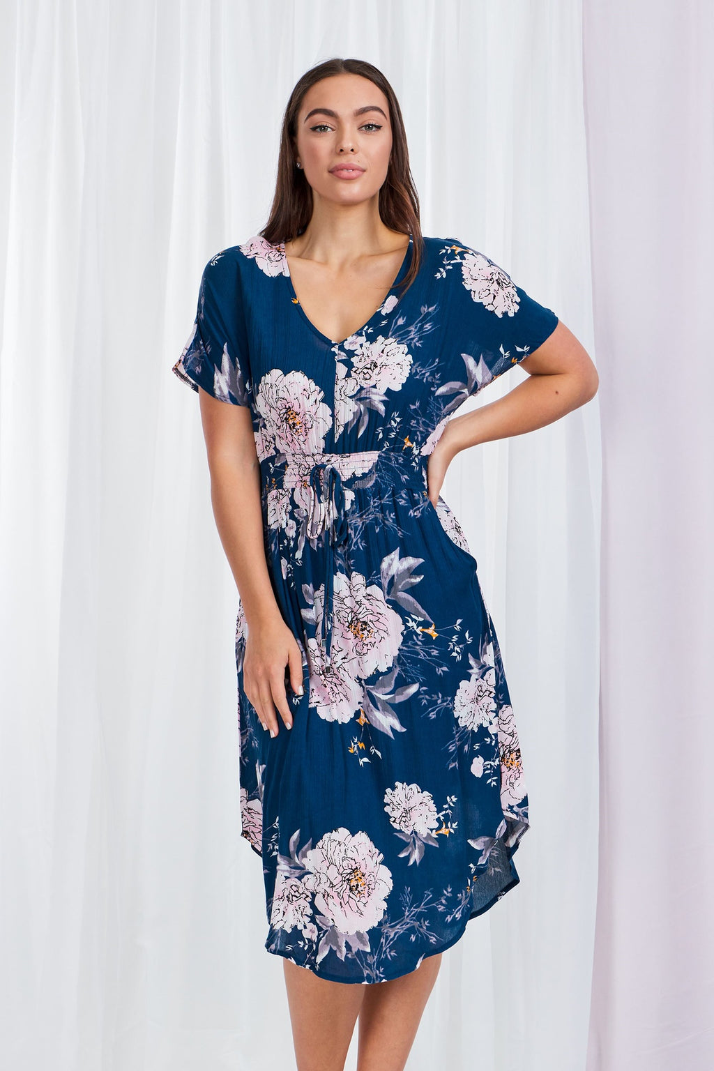 Floral Print Curved Hem Dress