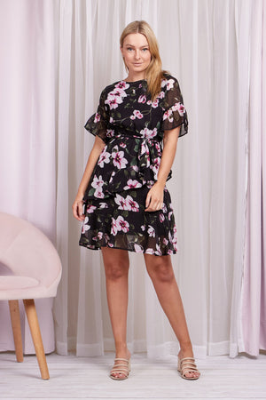 Short Sleeve Frill Detail Floral Dress With Tie