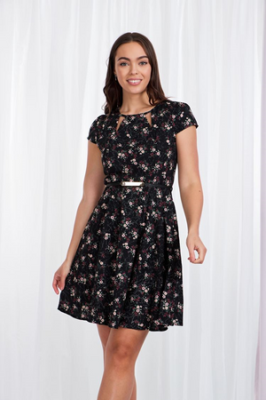 Floral Cap Sleeve Dress With Belt
