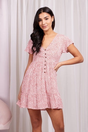 Floral Print Button Front Babydoll Dress