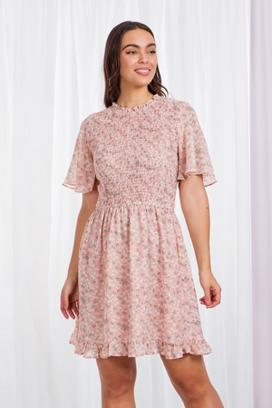 High Neck Floral Shirred Bodice Dress