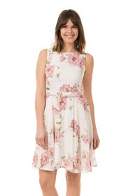Sleeveless Soft Floral Dress With Belt