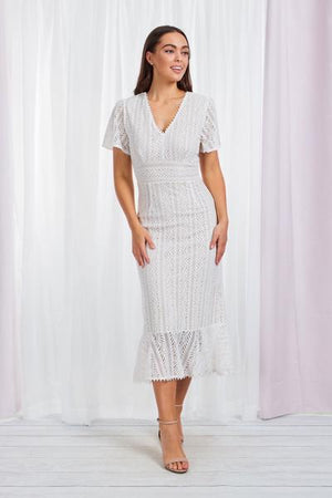 Short Sleeve V-Neck Frill Hem Lace Dress