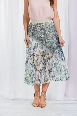 Pleated Floral Print Skirt With Elastic Waist