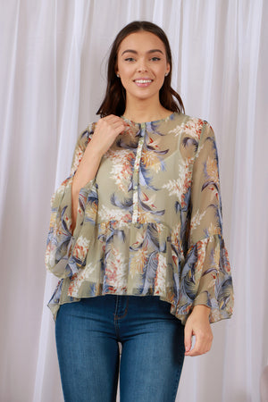 Frill Sleeve Feather Print Blouse