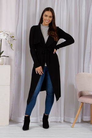 Long Line Waterfall Cardigan with Self Tie