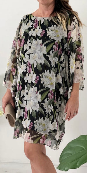 Floral Print Double Layer Shift Dress