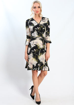 Floral Frill Sleeve Crossover Dress