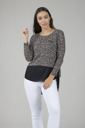 Leopard Print Print Double Layer Top