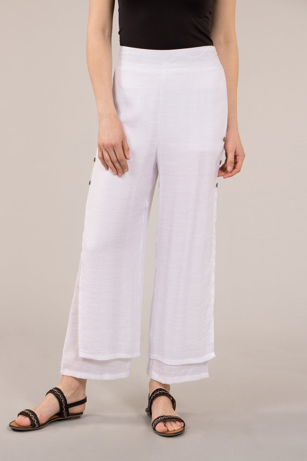 Double Layer Side Button Light Weight Pant