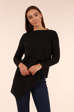 Asymmetrical Hem Long Sleeve Top