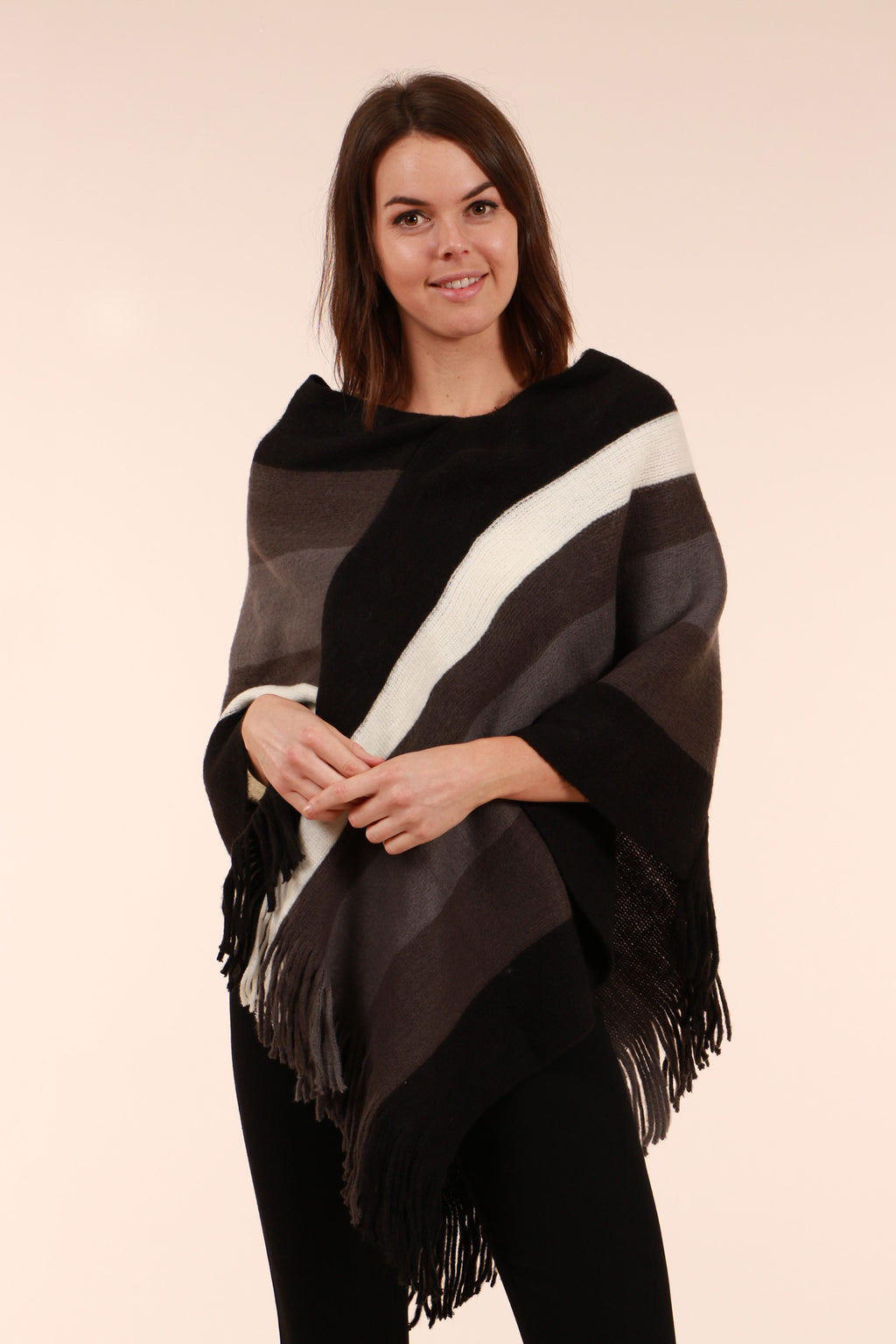 Wide Stripe Print Poncho