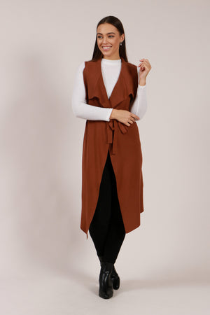 Long Line Waterfall Vest with Self Tie