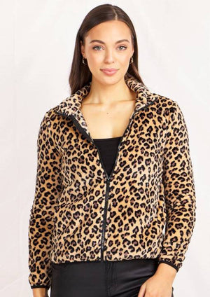 Long Sleeves Zip Front High Neck Animal Print Jacket
