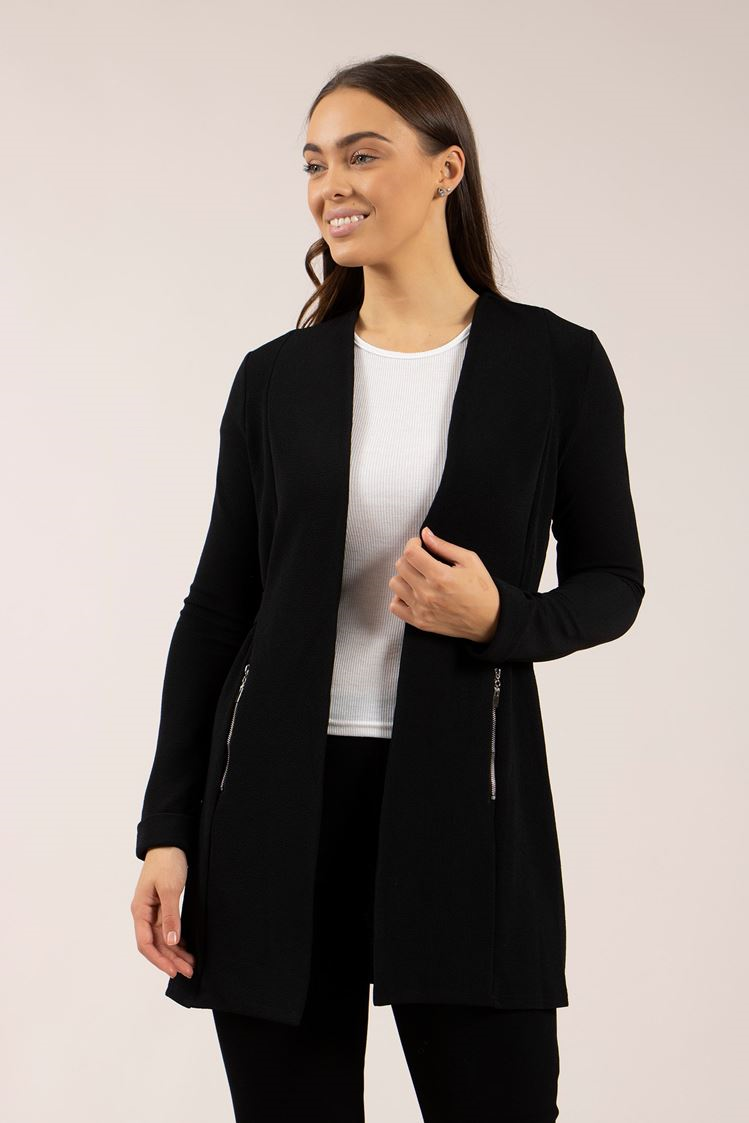 Longline Jacket With Side Zip Detail