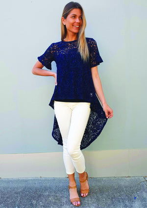 Short Sleeve Lace Hi-Lo Top