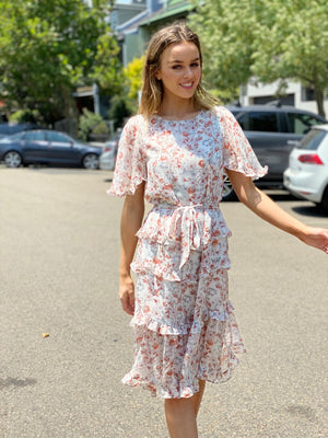 Floral Print Frill Sleeve Multi Tier Dress