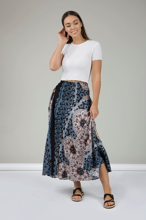 Circular Print Full Length Skirt
