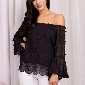 Embroided Off The Shoulder Frill Sleeve Top