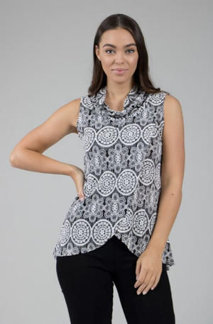 Sleeveless Cowl Neck Crossover Top