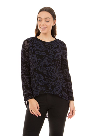 Flocking Hi-Lo Velour Print Top