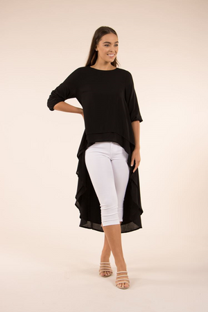 Solid Layered Hi-Lo Top With Elastic Cuff