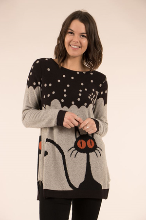 Cat Print Long Sleeve Top