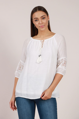 Drawstring Neckline Lace Sleeve Top