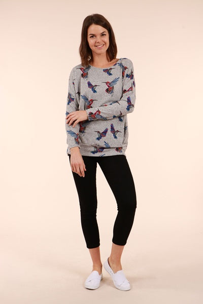 Humming Bird Print Top With Waist Band