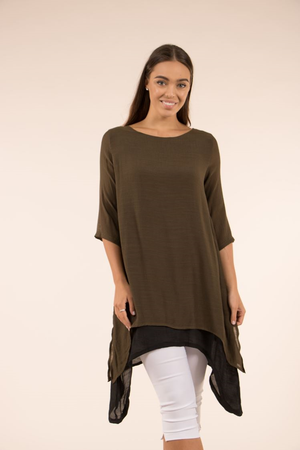 3/4 Sleeve Double Layer Tunic