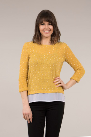 Polka Dot Emboss Top With Contrast Hem