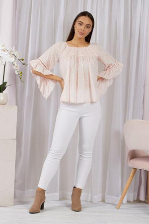 Elastic Neck Frill Sleeve Cotton Top